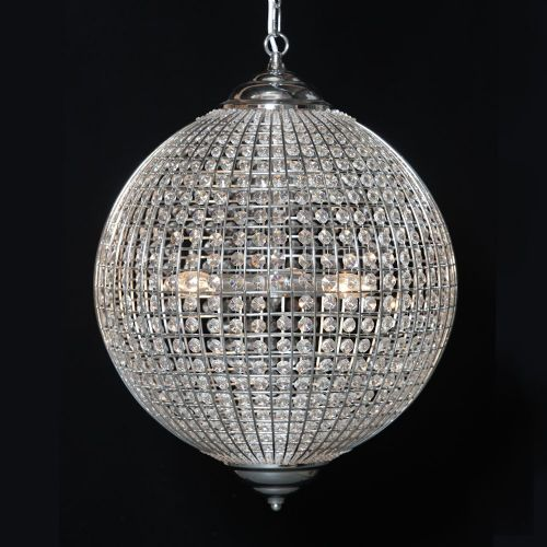 Large Chrome Finish Globe Chandelier